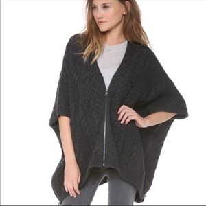 Vince cable knit zippered poncho wool cashmere